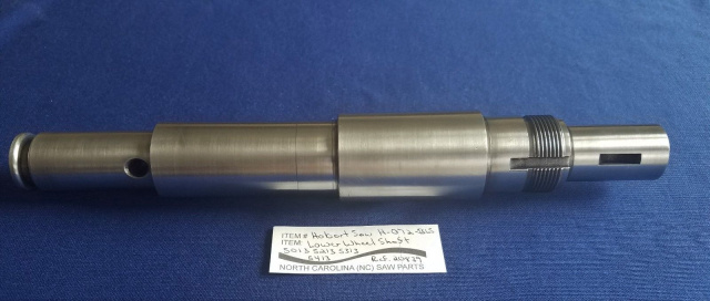 Lower Wheel Shaft for Hobart 5013, 5213, 5313 & 5413 Saws. Replaces R-20839