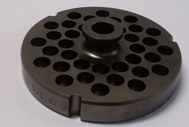 "German Made D2 Tool Steel 3/8"" Grinder Plate with Hub for Hobart #32 Meat Grinders. 15mm Thick"
