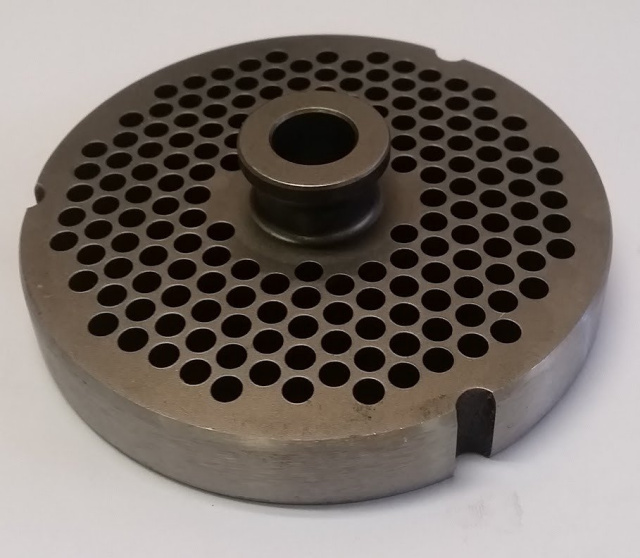 "German Made D2 Tool Steel 3/16"" Grinder Plate with Hub for Hobart #32 Meat Grinders. 15mm Thick"